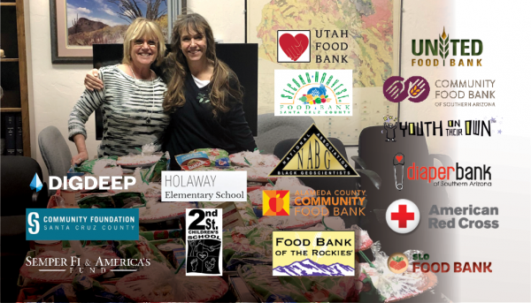 Two female employees prepare food donation boxes, and charitable organizations' logos are superimposed on the photo